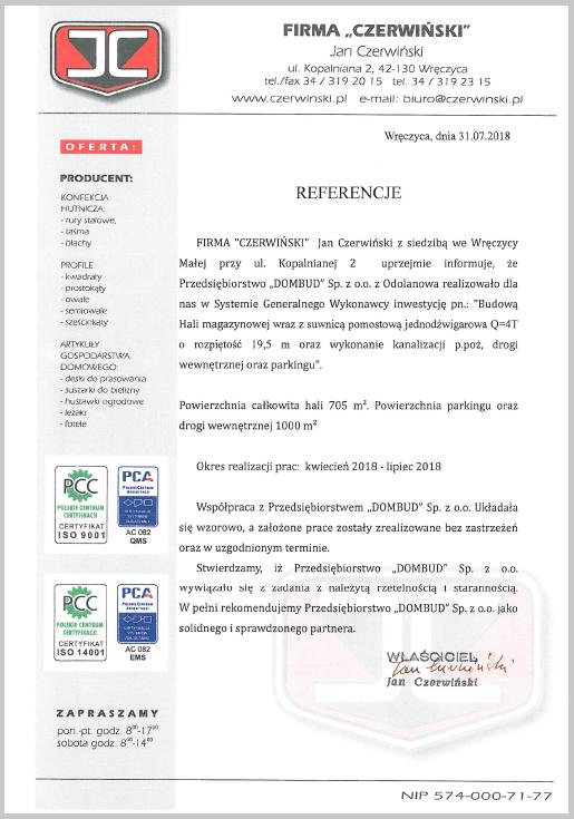 Czerwiński - referencje